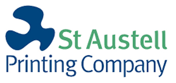 logo for the st austell printing company
